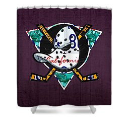 Anaheim Ducks Hockey Team Retro Logo Vintage Recycled California License Plate Art Shower Curtain by Design Turnpike