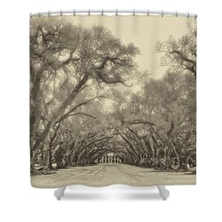 And Time Stood Still Sepia Shower Curtain by Steve Harrington