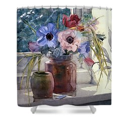 Anemones Shower Curtain by Julia Rowntree