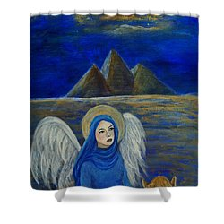 Angel From Eygpt Called Lapis Lazueli Shower Curtain by The Art With A Heart By Charlotte Phillips