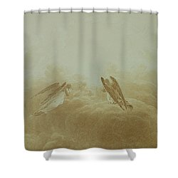 Angel In Prayer Shower Curtain by Caspar David Friedrich