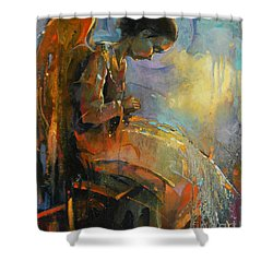 Angel Meditation Shower Curtain by Michal Kwarciak