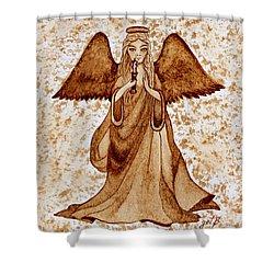 Angel Of Hope Original Coffee Painting Shower Curtain by Georgeta Blanaru