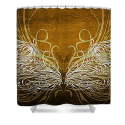Angel Wings Gold Shower Curtain by Angelina Vick