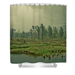 Another World-another Time Shower Curtain by Eti Reid