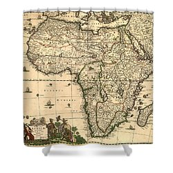 Antique Africa Map Shower Curtain by Gary Grayson