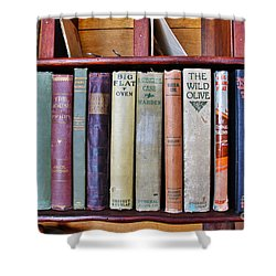 Antique Books On Shelf From 1860 Shower Curtain by Janice Rae Pariza