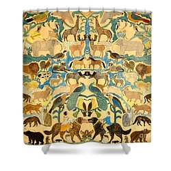 Antique Cutout Of Animals  Shower Curtain by American School