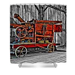 Antique Hay Baler Selective Color Shower Curtain by Steve Harrington