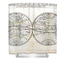Antique World Map Harmonie Ou Correspondance Du Globe 1659 Shower Curtain by Karon Melillo DeVega