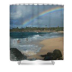 Anuenue - Aloha Mai E Hookipa Beach Maui Hawaii Shower Curtain by Sharon Mau
