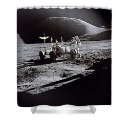 Apollo 15 Lunar Rover Shower Curtain by Commander David Scott
