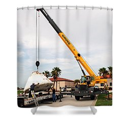 Shower Curtain featuring the photograph Apollo Capsule Going In For Repairs by Science Source