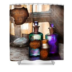 Apothecary - Oleum Rosmarini  Shower Curtain by Mike Savad