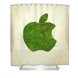 Apple Grass Logo Shower Curtain by Aged Pixel