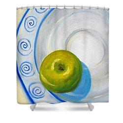 Apple Plate Shower Curtain by Nancy Merkle