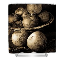 Apple Still Life Black And White Shower Curtain by Edward Fielding