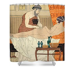 Application Of White Egyptian Perfume To The Hip Shower Curtain by Joseph Kuhn-Regnier