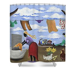Approaching The Finish Line Shower Curtain by Patricia Sabree