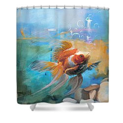 Aqua Gold Shower Curtain by Catf