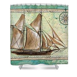 Aqua Maritime 2 Shower Curtain by Debbie DeWitt