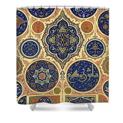 Arabian Decoration Plate Xxvii From Polychrome Ornament Shower Curtain by Albert Charles August Racinet