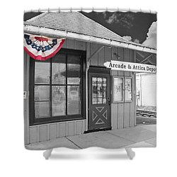 Arcade And Attica Depot Shower Curtain by Guy Whiteley