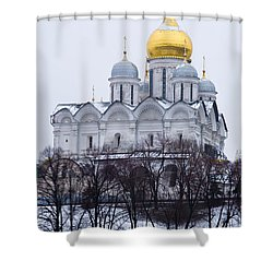 Archangel Cathedral Of Moscow Kremlin - Featured 3 Shower Curtain by Alexander Senin