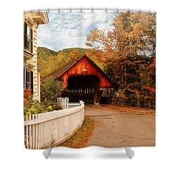 Architecture - Woodstock Vt - Entering Woodstock Shower Curtain by Mike Savad