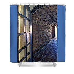 Archway In Mission Inn Riverside Shower Curtain by Ben and Raisa Gertsberg