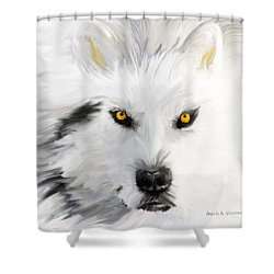 Arctic Wolf With Yellow Eyes Shower Curtain by Angela A Stanton