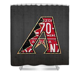 Arizona Diamondbacks Baseball Team Vintage Logo Recycled License Plate Art Shower Curtain by Design Turnpike