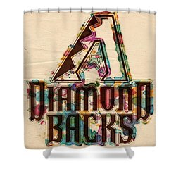 Arizona Diamondbacks Poster Vintage Shower Curtain by Florian Rodarte
