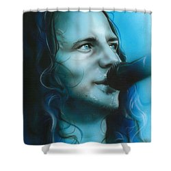 Eddie Vedder - ' Arms Raised In A V ' Shower Curtain by Christian Chapman Art