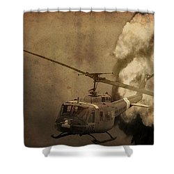Army Helicopter Explosion Shower Curtain by Dan Sproul