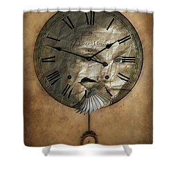 Around The Clock-time Is Flying Shower Curtain by Barbara Orenya