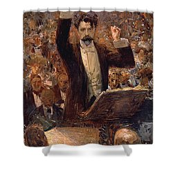 Arthur Nikisch Conducting A Concert At The Gewandhaus In Leipzig Shower Curtain by Robert Sterl