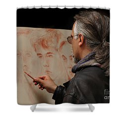 Artist At Work Florence Italy Shower Curtain by Bob Christopher