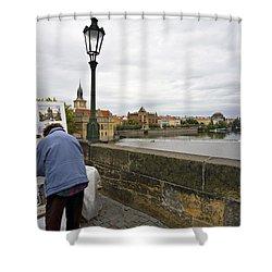 Artist On The Charles Bridge - Prague Shower Curtain by Madeline Ellis