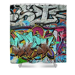 Artistic Graffiti On The U2 Wall Shower Curtain by Panoramic Images