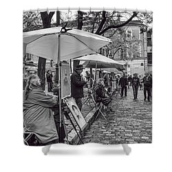 Artists In Montmartre Shower Curtain by Georgia Fowler