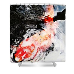 Asian Koi Fish - Black White And Red Shower Curtain by Sharon Cummings