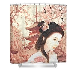Asian Rose Shower Curtain by Mo T