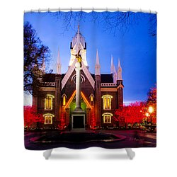 Assembly Hall Slc Temple Shower Curtain by La Rae  Roberts