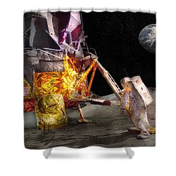 Astronaut - One Small Step Shower Curtain by Mike Savad