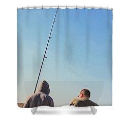 At Fishing Shower Curtain by Karol Livote