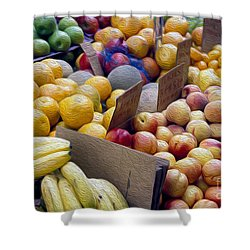 At The Market Shower Curtain by Jon Neidert
