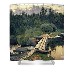 At The Shallow Shower Curtain by Isaak Ilyich Levitan