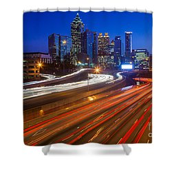 Atlanta Interstate I-85 By Night Shower Curtain by Inge Johnsson