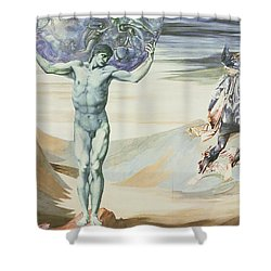 Atlas Turned To Stone, C.1876 Shower Curtain by Sir Edward Coley Burne-Jones